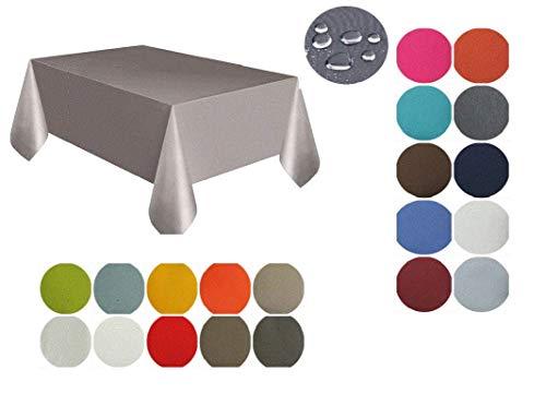 Hossner Heimtex hochwertige Teflon beschichtete Tischdecke Tischtuch Tafeltuch Uni Fleckschutzimprägnierung Outdoor geeignet eckig 130 x 170 cm schmutzabweisend und wasserabweisend (Gelb)