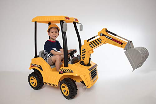 Wonderlanes Beyond Infinity - Children's Ride On Backhoe Construction Toy - 12V Battery Powered Wheels and Bucket, for Ages 3-6