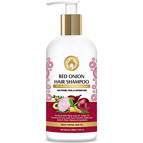 Mom & World Red Onion Hair Shampoo - With Redensyl And Natural DHT Blockers, For Strong, Thick And Lustrous Hair - 300ml