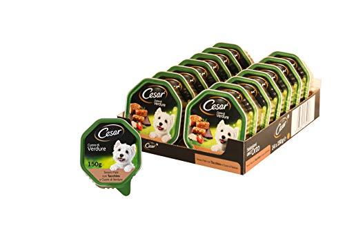 Cesar Cuore di Verdure Tenero Cibo per Cane, Paté con Tacchino e Cuore di Verdure 150 g - 14 Vaschette