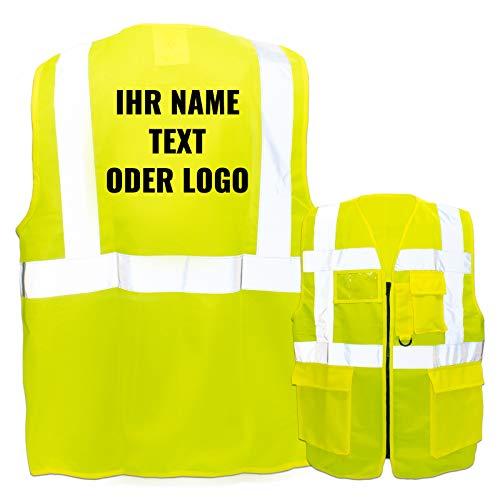 Warnweste mit Reißverschluss und Taschen * Druck auf Rücken/Standard-Druck * Farbe & Größe: Gelb/Größe XXL * Aufdruck selbst gestalten * Bedruckt mit Design Foto Text Logo