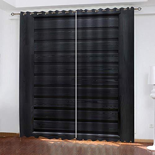 Evvsovs Sombreado Ventana Cortinas De Impresión 3D para Salón, Tablero De Madera Simple A Rayas Negras Dormitorio Y 2 Paneles Poliéster Cortina, 220 (Ancho) X215 (Alto) Cm