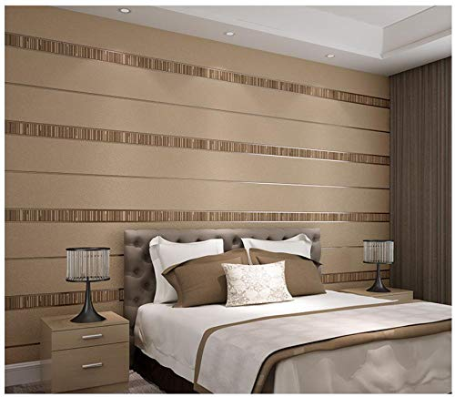 3D Wallpaper Non-Woven Flocking Stripes Wallpaper Brown Coffee Wallpaper Applicable to Living Room, TV Background Wall Home Decor 9.8mx0.53m