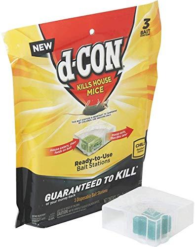 d-Con Disposable Corner Fit Mouse Poison Bait Station, Plain, 0.5 Oz (Pack of 3)