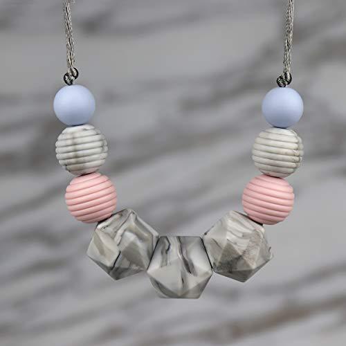collar lactancia,KEFU Collar Mordedor de Lactancia para Bebé Mordedor sin BPA Silicona Antibiótico Cómodo use collar Hermosa Moda (Canica)