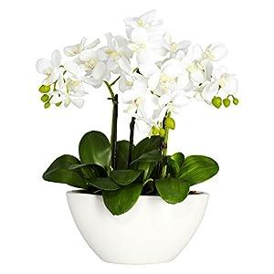 Nearly Natural 4804 15in. Phalaenopsis Silk Flower Arrangement,White,14.5″ x 11″ x 4.5″