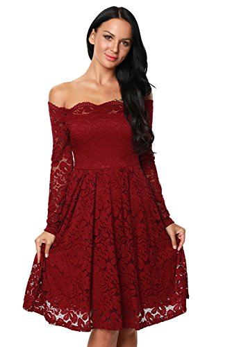 Red Lace Wedding Dress Off the Shoulder