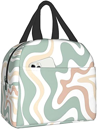 Liquid Swirl Retro in Light Sage Celadon Green Lunch Bag Tote Bag Lunch Bag for Women Lunch Box Insulated Lunch Container for Office Work Picnic Shopping