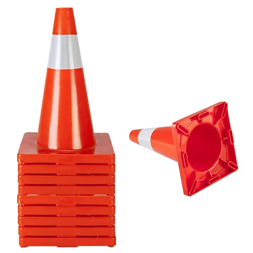 Sardoxx 10Pcs Traffic Cones 18' PVC Road Safety Parking Cones Unbreakable Cone with Orange Slim Fluorescent Reflective Collars