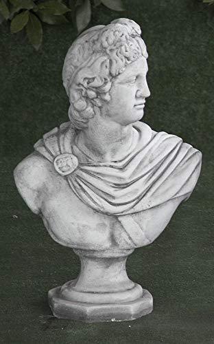 AnaParra Busto de hormigón clásica Apolo 20x56cm. - Peso: 20Kg. - Figura, Escultura Romana Estilo jardín Ingles. - Hecho en España.