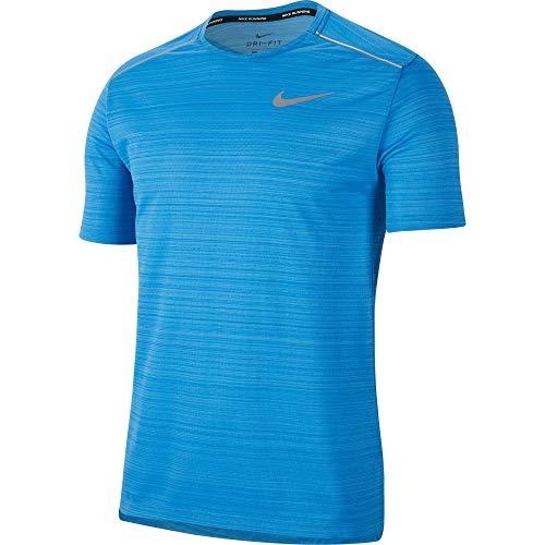 Nike Men's Dri-FIT Miler Short-Sleeve Running Top Pacific Blue/HTR/Reflective SILV S