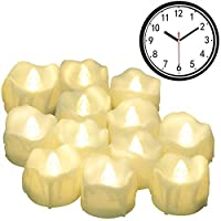 [Funzione di Temporizzazione] Queste candele a LED con timer in grado di accendere e spegnere allo stesso tempo ogni giorno. Quindi, non è necessario per accenderli e spegnere da soli ogni volta. Sono la scelta ideale per ristoranti, chiesa, hotel, p...
