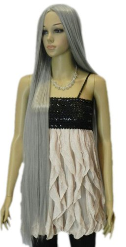 Qiyun Femme Extra Longue Argent Gris Raide Cheveux Cosplay Perruque