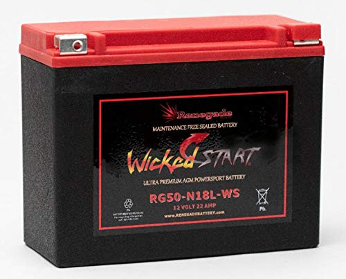 Motorcycle Battery; RG50-N18L-WS; Can-am(2008, 2009, 2010, 2011, 2012, 2013, 2014, 2015, 2016, 2017, 2018) Spyder GS, Spyder RS, Spyder RS-S, Spyder RT, Spyder RT-S, Spyder ST, Spyder ST-S; 550+ CCA's