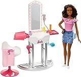 Barbie Quiero Ser peluquera, muñeca morena con accesorios y su salón de belleza (Mattel FJB37) , color/modelo surtido