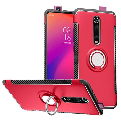 Labanema Xiaomi Redmi K20 /Redmi K20 PRO/Mi 9T /Mi 9T PRO Custodia, Cavalletto con Anello in Metallo,360°Rotazione Protettiva in TPU & PC Morbida, Compatibile con Supporto Magnetico per Auto - Rosso