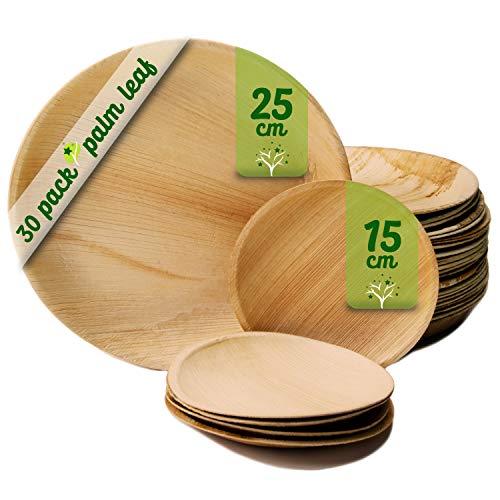 Platos desechables de hoja de palma 30 Piezas, 25 Platos redondos de 25 cm y 5 Platos de 15 cm. vajilla rustica de madera para barbacoas y fiesta de cumpleaños. Biodegradable libre de plástico.