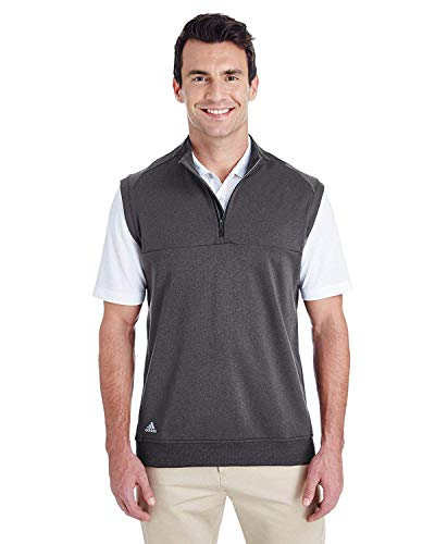 Learn More About adidas Golf Mens Quarter-Zip Club Vest (A271) -Black Heat -3XL