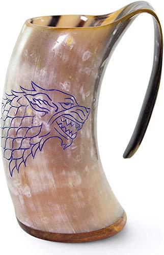 """Norse Tradesman Jarra Vikinga de Cuerno Auténtico   750 ml Taza Cerveza de Cuerno con Base de Palisandro y Grabado de Juego de Tronos   """"El Fenrir"""""""