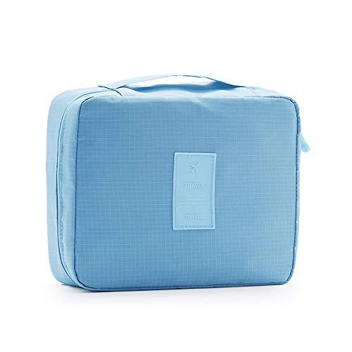 Portable Trousse De Toilette Suspendre Pliable Cosmétique Sac Rangement De Voyage Hommes Et Femmes Zipper Pochette Imperméable - Bleu 23 * 18 * 9cm