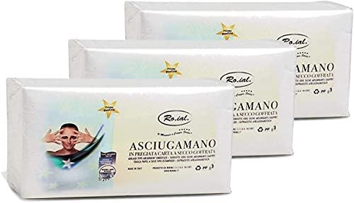 Ro.Ial Asciugamani in Carta a Secco Goffrata - 3 Confezioni da 60 Pezzi
