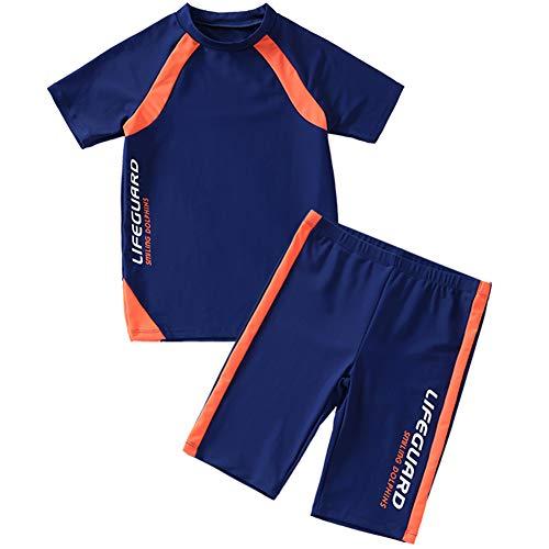 Basadina Badeanzug für Jungen, kurzärmelig, 2-teilig, Sonnenschutz, Bademode für Jungen, 4-14 Jahre, Jungen, blau, 110 cm