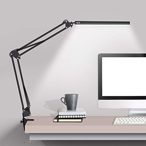LED Desk Lamp with Clamp, Swing Arm Desk lamp, Adjustable Desk Light Eye-Care Table Light, 3 Color Modes, 10-Level Dimmer, Eye-Caring Desk Lamps for Home Office, Study, Reading, Dorms, Studios