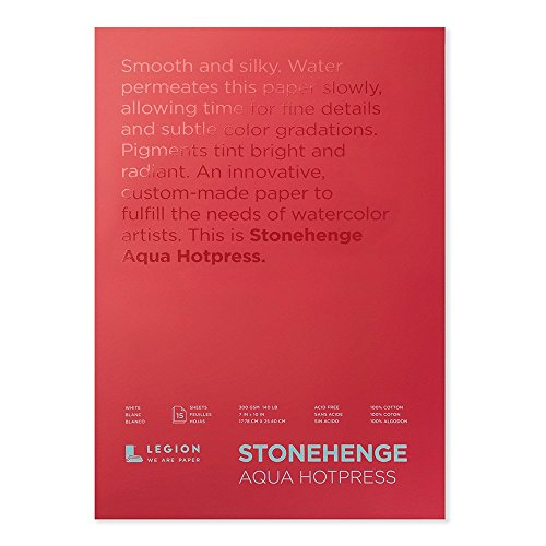 Stonehenge Aqua Watercolor Block , 7 X 10 Inches, 140 Pound, Hot Press, White, 15 Sheets