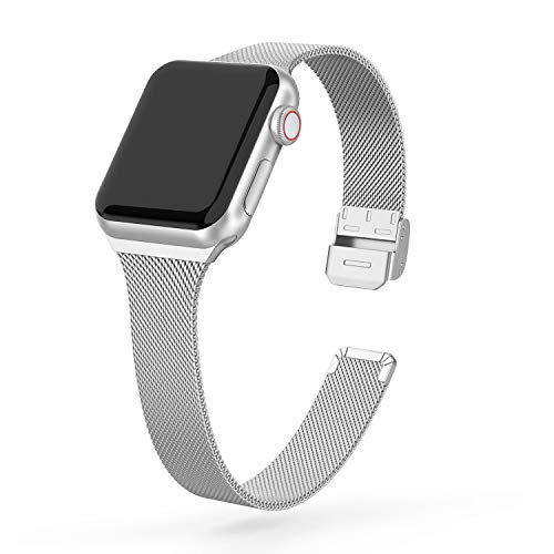 SWEES Compatible with iWatch 38mm 40mm 42mm 44mm, Stainless Steel Metal Narrow Small Soft Thin Replacement Compatible for iWatch Series 6 5 4 3 2 1 SE Women Men, Black, Champagne, Silver, Rose Gold