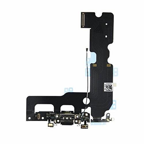 OnlyTech - Conector de Carga de Repuesto Compatible con iPhone 7 + Plus - Dock de Repuesto con Cable Flex, Micrófono y Antena. Color Negro