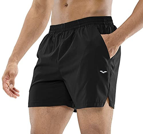 MIER Men's Workout Running Shorts Quick Dry Active 5 Inches Shorts with Pockets, Lightweight and Breathable, Black, M