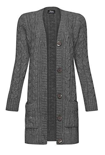 Mikos* Damen Cardigan Lang Elegant Strickjacke Wolle Langarm Strickmantel Mantel Frühling/Winter/Herbst (535) (Grafite, M)