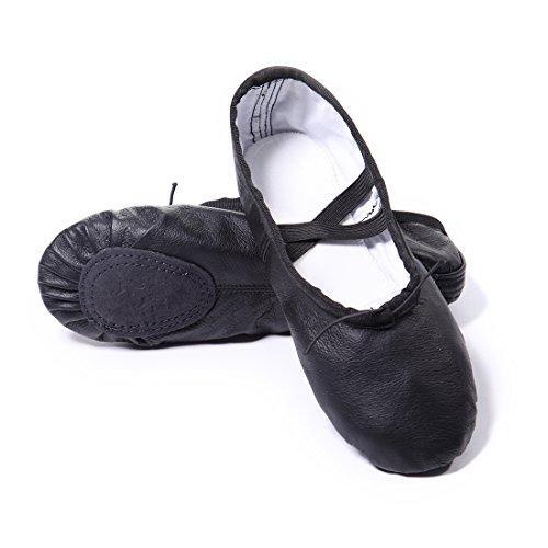 DoGeek Dobrej jakości buty baletowe z prawdziwej skóry, miękkie buty do baletu, buty treningowe z gumowymi taśmami, dla dziewcząt/kobiet, w rozmiarach 26-40 EU, czarny - czarny - 33 EU