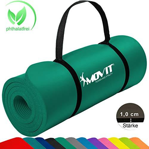 Movit Pilates Gymnastikmatte, Yogamatte, phthalatfrei, SGS geprüft, 183 x 60 x 1,0cm, Yoga Matte in Dunkelgrün