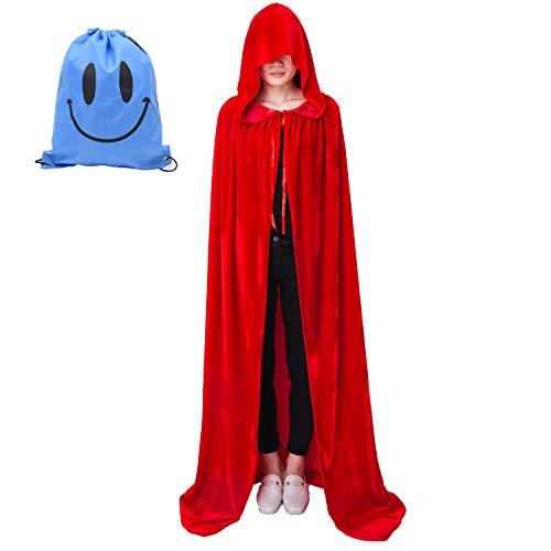 Myir Mantello con Cappuccio Velluto, Adulto Bambini Halloween Mantelli Lungo Halloween Costume Unisex Strega Wicca (L, Rosso Velluto)