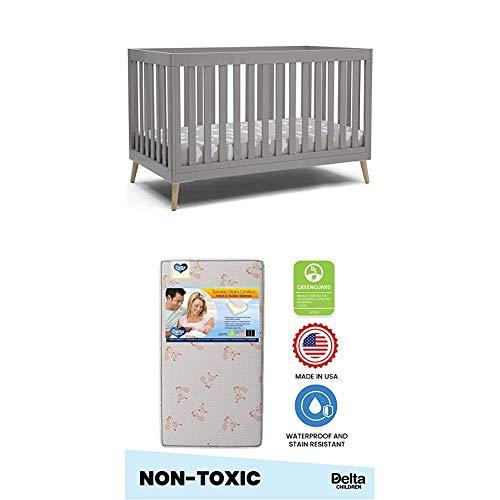 Delta Children Essex 4-in-1 Convertible Baby Crib, Grey with Natural Legs, Grey with Natural LegsTwinkle Stars Limited Fiber Core Crib and Toddler Mattress