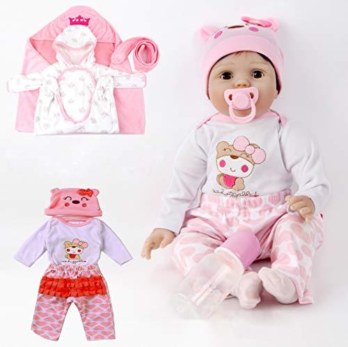 Antboat Reborn Babys Mädchen 22 Zoll/55cm Reborn Babypuppe Lebensechtes Weiche Vinyl Silikon Magnetisch Mund Baby-Puppen Spielzeug Weihnachten Geschenk