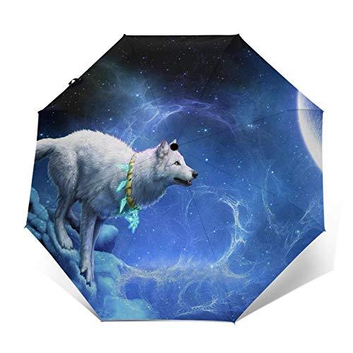 Paraguas automático triple plegable 3D con impresión exterior de nieve, montaña, lobo, luna, galaxia, protector solar impermeable, resistente al viento, plegable, para hombre y mujer al aire libre