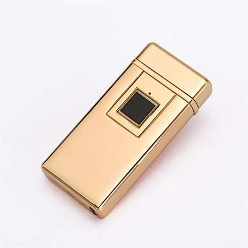 GJQDDP Riconoscimento delle Impronte digitali più Leggero, con indicatore Batteria e Confezione Regalo, Accendino Elettrico Antivento Ricaricabile Ricaricabile USB con per Campeggio all'aperto,d'oro