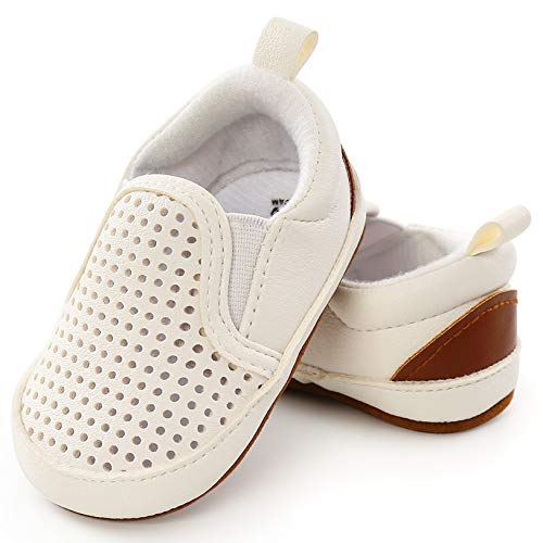 UniBaby7 Newborn Baby Girl Boy Shoes Soft Sole PU Leather Walking Sneaker Shoes Infant Prewalker Toddler First Walker Outdoor Newborn Crib Shoes(White,12-18 Months)