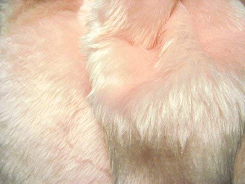 CRS Fur Fabrics Plain Fun Piel sintética Tela Material, Color Rosa pálido