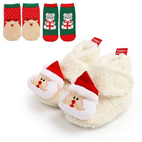 URMAGIC Baby Boys Girls Christmas Shoes with Xmas Socks Headband Gifts Soft Anti-Slip Warm Crib Booties