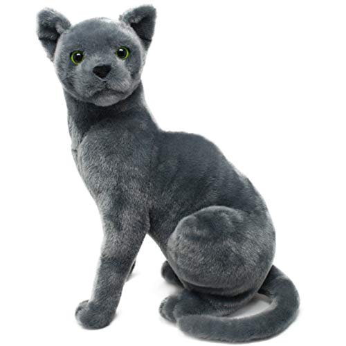 Rae The Russian Blue Cat - 12 Inch Stuffed Animal Plush Gray Cat - by Tiger Tale Toys