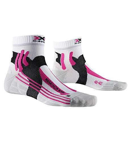 X-Socks Marathon, Calzini da Corsa Donna, Arctic White/Pearl Grey, 35-36