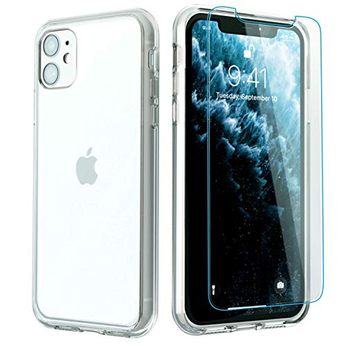 iPhone 11 Case with 2 x Tempered Glass Screen Protectors | Crystal Clear Case | Hard PC+Silicone Bumper| Wireless Charging | Compatible with iPhone 11