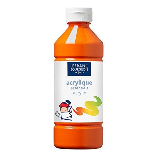 Lefranc & Bourgeois 188527 Value Kinder Acrylfarbe, auf Wasserbasis, mit Glanzeffekt, seidenglänzender Finish, deckend, Dosieröffnung, 500ml Flasche, orange