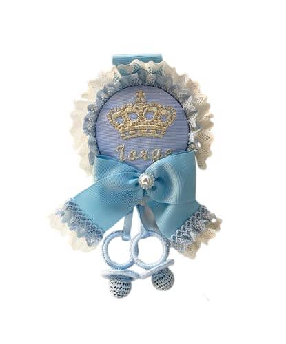 Medallón para carrito personalizado Corona celeste/beige