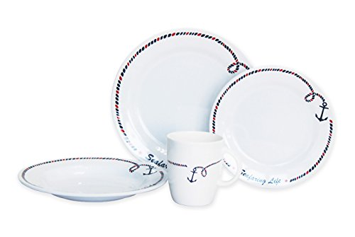 Norestar Non-Skid 16-Piece Melamine Dishware Set for Boat/RV: Bowls, Plates, Mugs. Ideal as Gift (Anchor Collection)