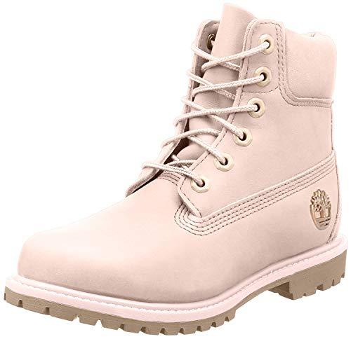 Timberland Women's 6″ Premium Boot Light Pink Nubuck/Metallic Collar 8 B US