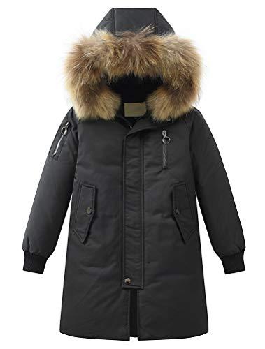 Mallimoda Chicos con capucha Down Abrigos de invierno cálido chaqueta sólida Puffer Coat - negro - 7-8 años